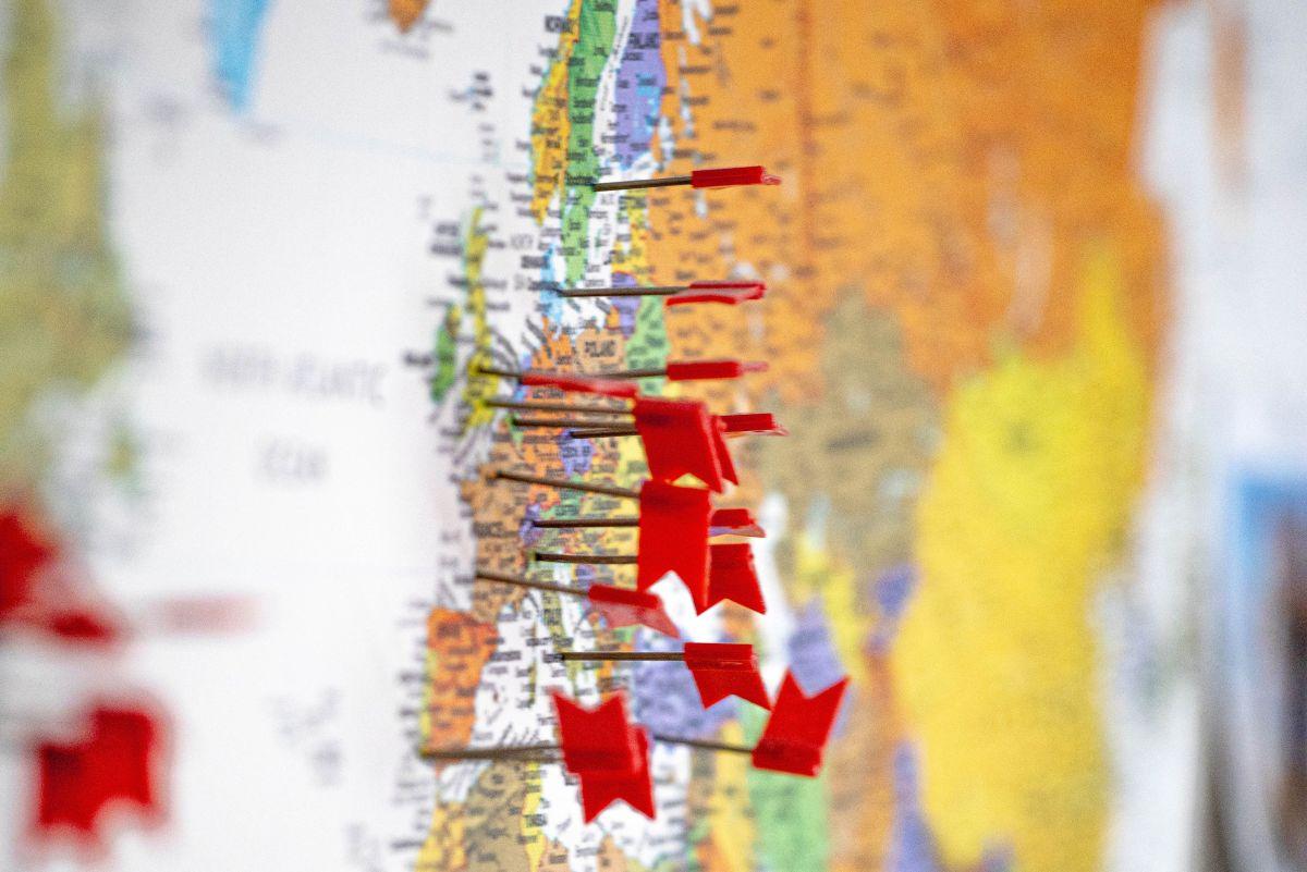 Karte mit Reisezielen
