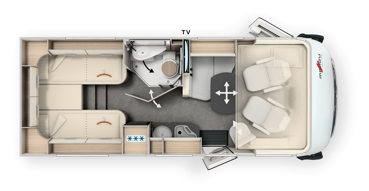 Innenraum eines vollintegrierten Wohnmobils